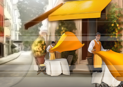 LassalMedia, Animatic sample frames for Commerzbank. A rather long animatic showing a world turning yellow.