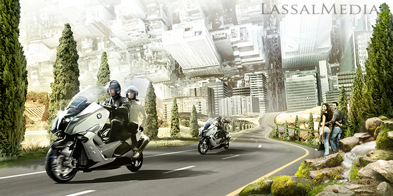 LassalMedia – photorealistic key visuals for a BMW Scooter campaign.