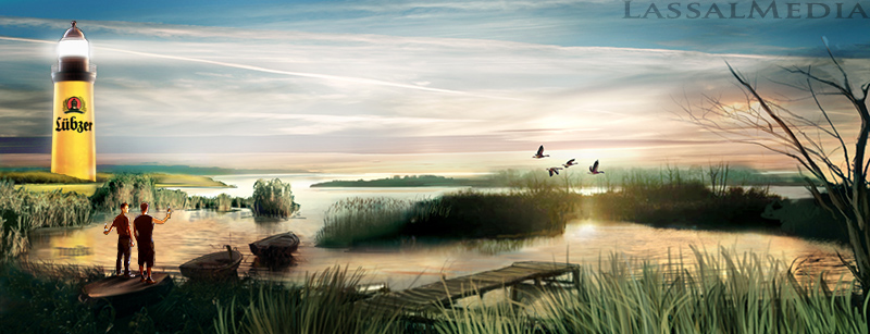 LassalMedia – photorealistic key visuals for Lübzer Beer – nature shot with lake at sunrise