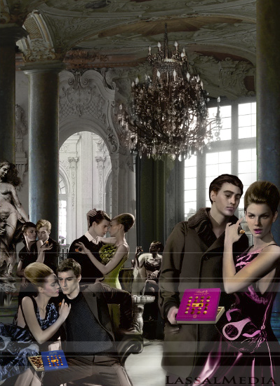Key Visual for Lindt Chocolate / LifeSyle 1 LassalMedia – photorealistic packshots / key visuals for a Lindt campaign. LifeStyle Themed: Barock & Opulence.