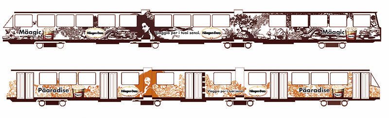 LassalMedia, final illustrations (masks) for a global Häagen-Dazs campaign – Tram decoration in Italy