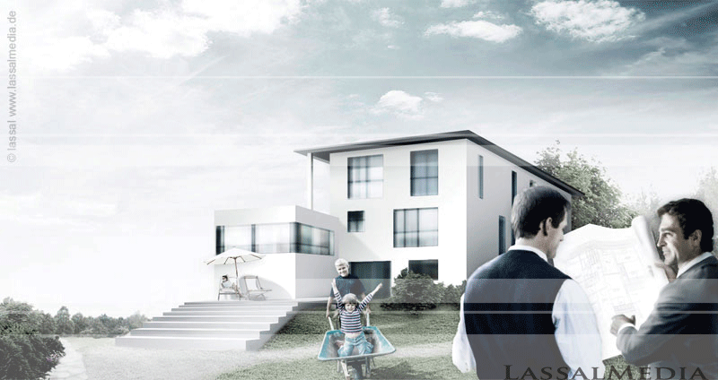 LassalMedia – photorealistic key visuals for a Commerzbank campaign (family house with architect)