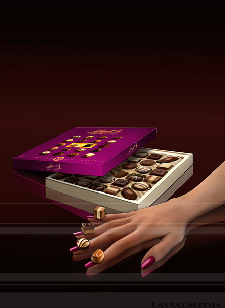 LassalMedia – photorealistic packshot / key visual for a Lindt campaign.