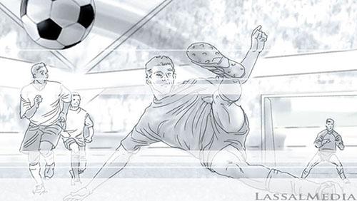 LassalMedia, storyboard pencils for Nivea for Men (Beiersdorf) / Soccer Theme