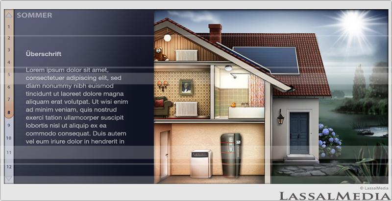 LassalMedia – Illustration for Infographic / Animation – Solar Power & Heating System (Daytime Setting)