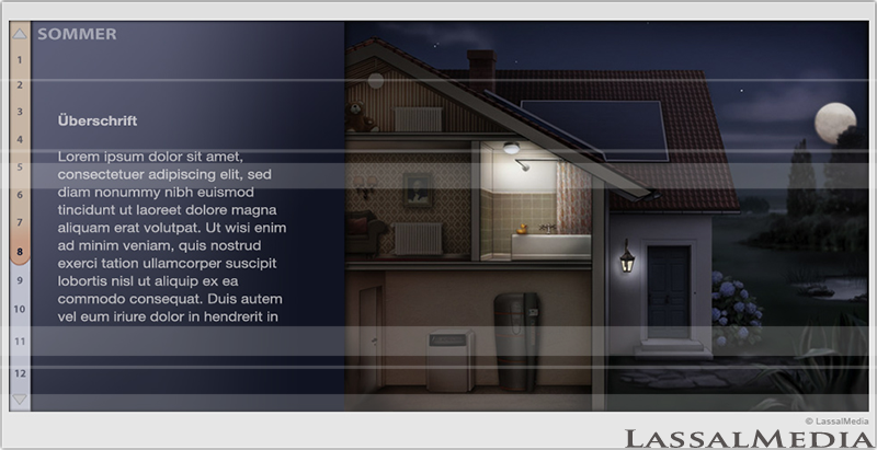LassalMedia – Illustration for Infographic / Animation – Solar Power & Heating System (Night)