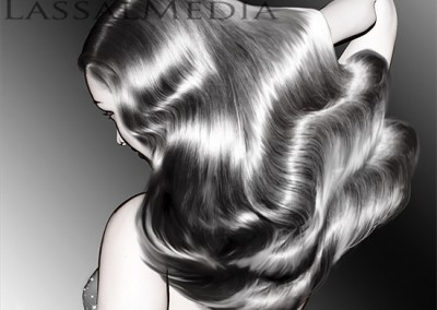 LassalMedia, animatic sample frames for a beauty / haircare pitch. Work-in-progress storyboard illustrations.