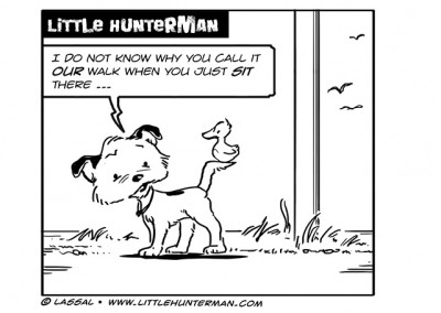 Dog & Duck Cartoon with Little Hunterman, a Parson Jack Russell Terrier, and his best friend Flynn.