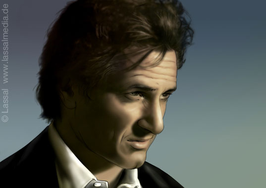 LassalMedia – realistic key visual (layout illustration) for a pitch – based on a photograph of Sean Penn provided by the agency.