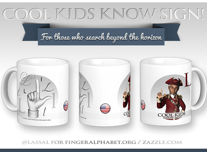 LassalMedia – Merchandising for FingerAlphabet.org (several mugs with ASL sign for the letterL)