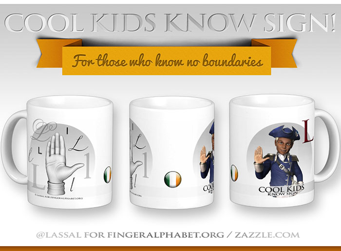 LassalMedia – Merchandising for FingerAlphabet.org (several mugs with Irish sign for the letter L)