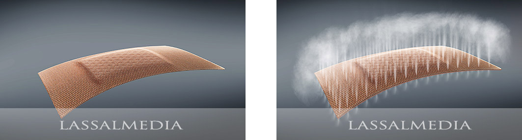 LassalMedia - photorealistic previsualization of band aid air effect for DraftFCB and Beiersdorf