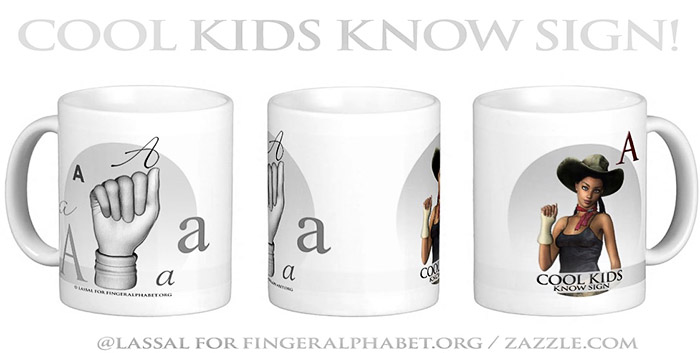 LassalMedia – Merchandising for FingerAlphabet.org (several mugs with ASL sign for the letter A)