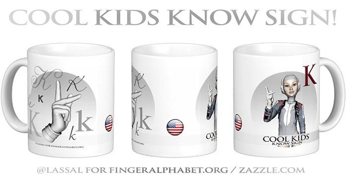 LassalMedia – Merchandising for FingerAlphabet.org (several mugs with ASL sign for the letter K)